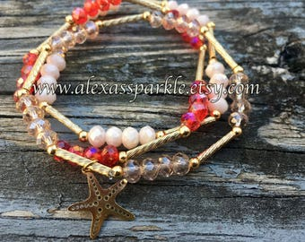 Set of three crystal bead bracelets-red-white-cristal colors