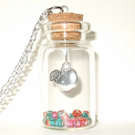 Apple Necklace, Snow White Bottle Necklace, Apple in a Bottle Pendant, Red and Green Beads in a Bottle, An Apple for Teacher Necklace