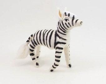 Vintage Style Spun Cotton Zebra Figure/Ornament (MADE TO ORDER)