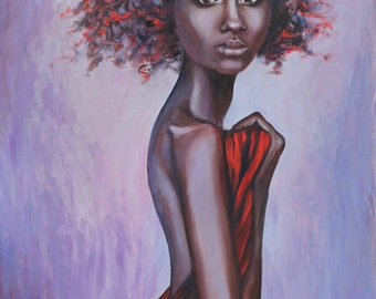 Oil Painting Portrait of a Girl Original Artwork Home Decor Wall Hanging Art Figurative Woman Red 50x70cm