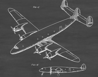 Lockheed Constellation Airplane Patent - Vintage Airplane, Airplane Blueprint, Airplane Art, Pilot Gift,  Aircraft Decor, Airplane Poster,