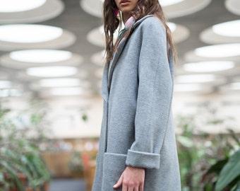 Woman coat Gray coat, Wool coat, Cropped coat, Christmas gift for her, oversize coat, ladies winter coat, warm gray coat, wool coat,