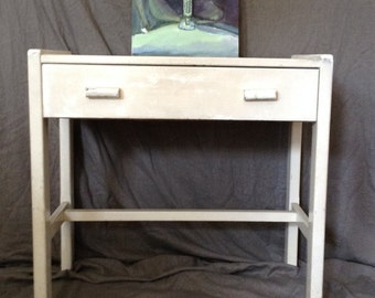Vintage Art Deco Vanity Side or End Table Single Drawer