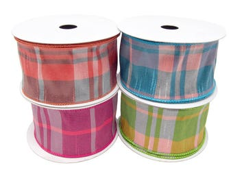 Catalina Plaid Wired Dupioni Ribbon, 2-1/2-Inch, 10 Yards