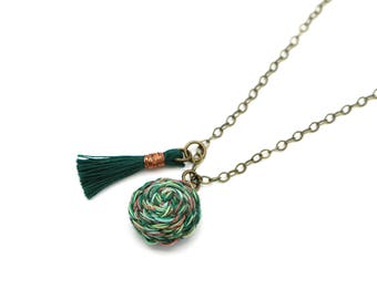 Braided Pendant Necklace with Tassel - Fiber Art Necklace - Shades of Green + Copper