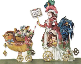Marie Antoinette Easter Decor - Poultry Lady Paper Art Doll Party Decoration Or 3D Easter Card - Digital INSTANT Download MA13E