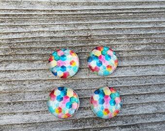 12mm Rainbow Honeycomb Glass Cabochon