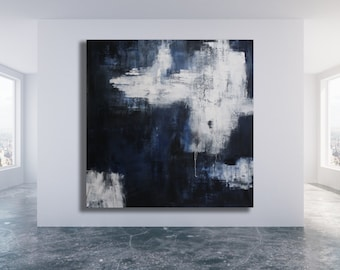 Bold XL Abstract Painting / Modern Art / Contemporary Art / Texture Painting / Blue, Grey and White Painting / Large Abstract Art