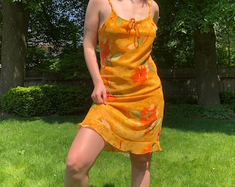 Orange Flower Print Summer Dress