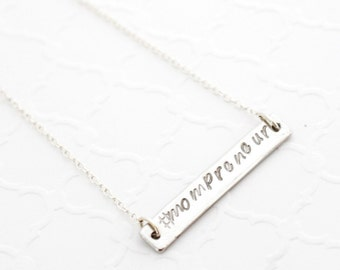 Mompreneur Necklace, Gift for Working Mom, Personalized Mom Gift, Silver Bar Necklace, Horizontal Bar Necklace Layer, Custom Bar Necklace