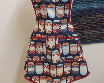 Retro WWII era, Kitchen Canisters print, new apron made from an updated vintage pattern