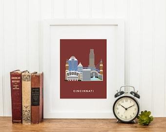 Cincinnati City Print, Ohio Art Print, Cincinnati Baseball, Last Minute Gift, Cincinnati Wall Art, Gift For Him, INSTANT DOWNLOAD