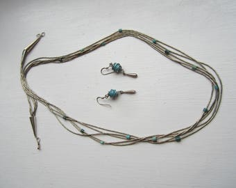 Liquid Silver and Turquoise Multi-strand Necklace and Earring Set FREE SHIPPING (US)