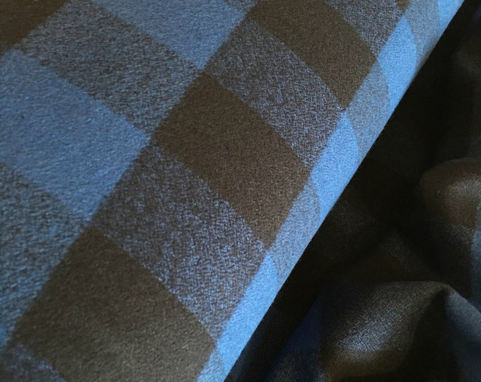 Hipster Flannel fabric, Blue flannel, Buffalo Plaid, Fabric by the yard, Lumberjack Chic, Mammoth Flannel, Buffalo Plaid in Blue 111
