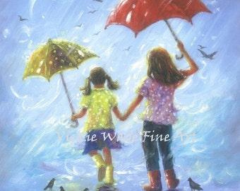 Sisters Art Print, two sisters wall art, girls room wall art two girls, sister gift, childrens art, blue, rain girls umbrellas, Vickie Wade