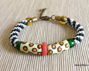 Ethnic bracelet with African glass recycled beads