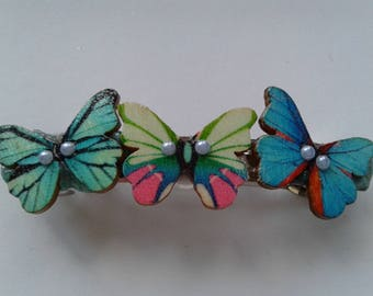Trio of pastel butterflies barette