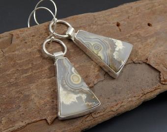 Sale! Lace Agate Dangle Sterling Silver Earrings