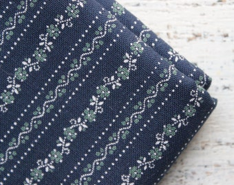 Vintage cotton fabric 4.34 yards in 1 listing navy blue green white boho fabric