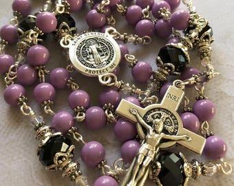 Saint Benedict Rosary Lavender Czech Glass