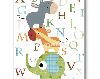INSTANT Alphabet  DOWNLOAD Print Baby Nursery Decor Nursery Digital Print Baby Boy Nursery Art Printable Art Digital Download Art 8x10 11X14