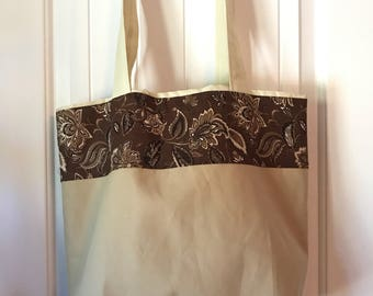 Tan and Brown Paisley Eco Tote Bag
