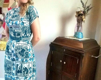Early America Forest Green and Blue Novelty Print 1950s Dress. Frontier Pilgrim Linen 50s Wiggle Dress.