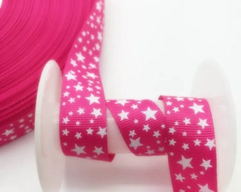 "1"" Hot Pink and White Stars Ribbon by the Yard  AD63"