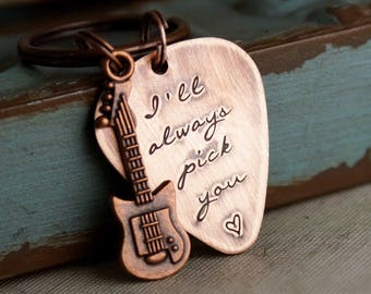 Hand Stamped Guitar Pick Key Chain /  Personalized Guitar Pick / Custom Copper Guitar Pick / I'll always pick you