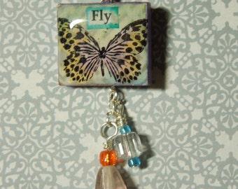 Fly Butterfly Scrabble Tile Pendant Crystal Orange Purple Glass Beads w/Chain