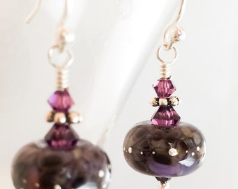 Purple Lampwork Glass Earrings - Purple Silver Earrings - Purple Amethyst Crystal Earrings - Purple Earrings - Purple Swarovski Earrings