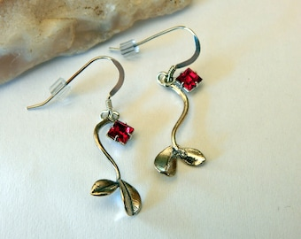 Trailing Leaves Silver Plated Earrings - Red Crystal Charms - Silver Earwires