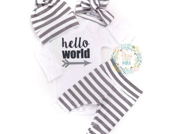Newborn Baby Gender Neutral READY TO SHIP coming home outfit Gray and White Stripe theme going home set hello world baby shower gift coming