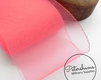 15cm (6 inch) Wide Crinoline (Crin, Horsehair Braid) for Hats, Millinery, and Fascinators - Neon Pink