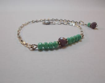Bracelet beads faceted turquoise and lilac