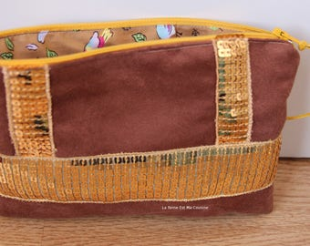 Suede pouch brown gold and glitter gold