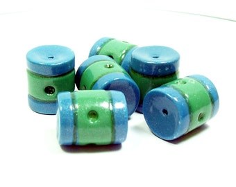 NOW ON SALE Polymer Clay Blue and Green Striped Tube Beads - Handmade