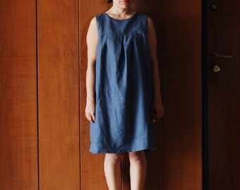 Woman babydoll sundress liberty blue italian flax linen. Casual look, beach time. Summer apparel. Size M. Ready to ship.