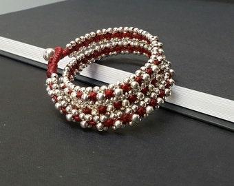 Red Silver Wrap Bracelet
