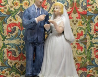 Vintage Bride and Groom Figurines by Norman Rockwell 1984, Lets Get Married, Will you Marry Me