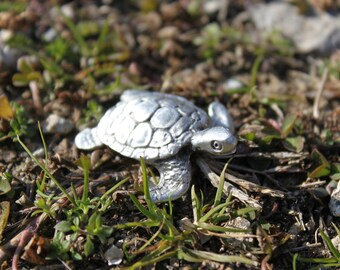 Hand Made in US Lead Free Pewter Turtle Figurine cute Sea Turtle  gift Made in Michigan  Free Shipping