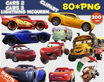 Cars Clipart 80 PNG 300dpi Images Digital Clip Art Instant Download Graphics background birthday Lightning McQueen scrapbooking