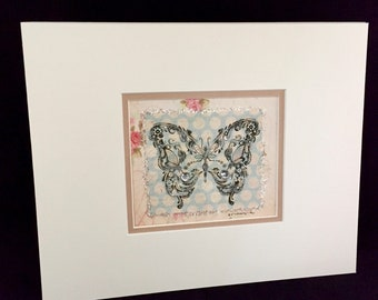 Ink Butterfly on Vintage Paper
