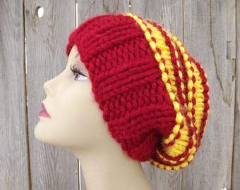 Super Slouchy Hat-Red and Gold-San Francisco 49ners-100% Acrylic
