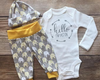 Gray and Yellow Elephant Newborn Boy Outfit, Coming Home Outfit, Going Home Outfit, Baby Shower Gift, Gray and Yellow, Baby name Outfit