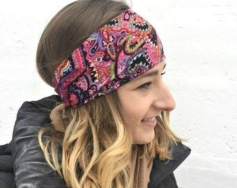 Pink Paisley   Yoga Headband   Workout Headband   Fitness Headband   Running Headband   Wide Headband   Pilates Headband   Barre Headband