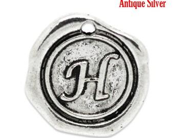 """5pcs. Antique Silver LARGE Letter """"H"""" Alphabet Letter - 18mm x18mm - Wax Design"""