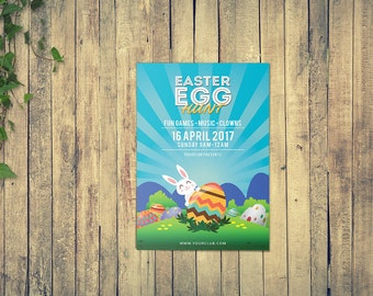 Instant Download , Printable Easter Party Flyer   Easter Egg Hunt Invitation Card Template   Photoshop and MS Word Template