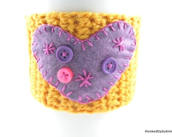 Crochet Coffee Cup Sleeve - Gold with Purple Heart