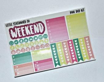 Vertical Planner Sticker Kit for use with Erin Condren LifePlanner- Pool Day Kit
